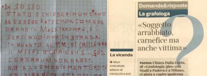 Articolo corriere con intervista a Grafologia 360 su lettera anonima Erostrato