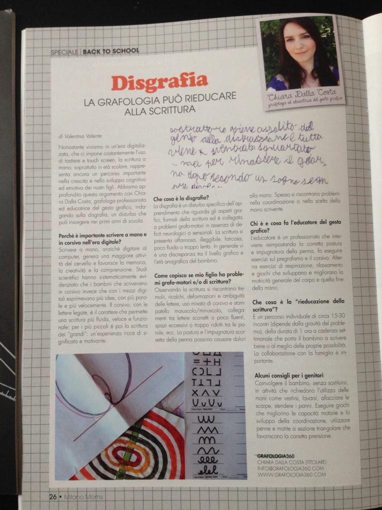 Articolo dedicato alla Disgrafia di Grafologia 360 su MilanoMOMS