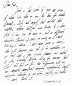 Scrittura di George Michael con segno grafologico Pendente