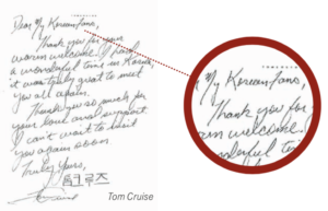 Scrittura di Tom Cruise con segno grafologico Stretta tra Parole