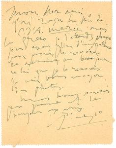 Scrittura di Picasso come esempio di segno fluttuante di Grafologia360