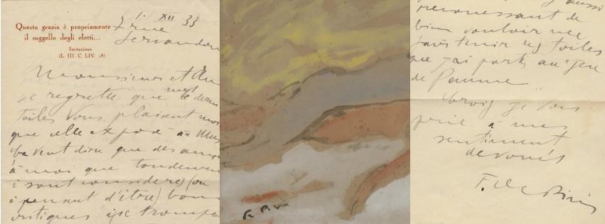 Scrittura e firma di Filippo De Pisis