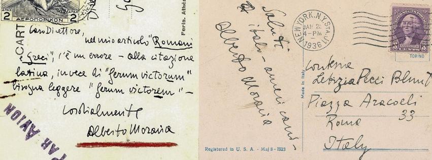 Scrittura e firma di Alberto Moravia