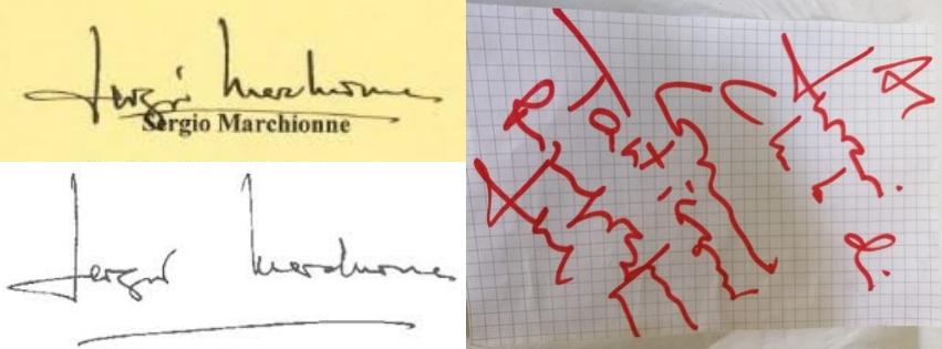Sergio Marchionne scrittura e firma