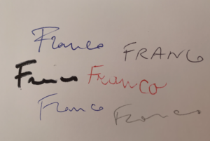 Varie firme tracciate da una stessa persona