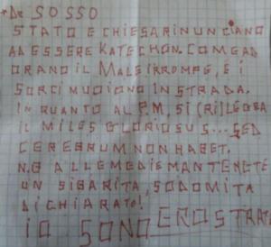 Esempio di lettera anonima su VPocket da parte di Grafologia360