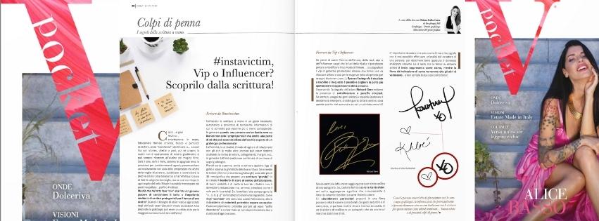 Scrivere da Vip, influencer spiegato dal grafologo Chiara Dalla Costa di Grafologia360 nella rivista VPocket